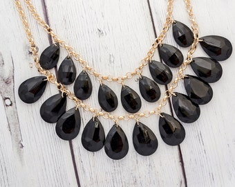 Black statement necklace - black chunky necklace, little black dress, black and gold, statement bib necklace, big bold chunky necklace