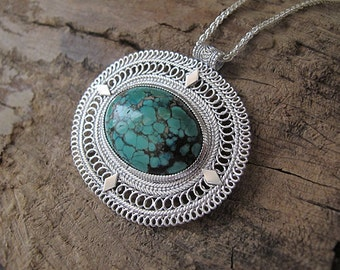 Turquoise necklace,Silver necklace,Turquoise silver necklace,Yemenite necklace ,Israel jewelry,Ethnic necklace,filigree silver necklace