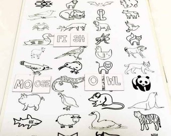 Spell the Animals Magnetic Game - Educational, Home School, Fun, Spelling, Learn Letters, Words | Color your own letters