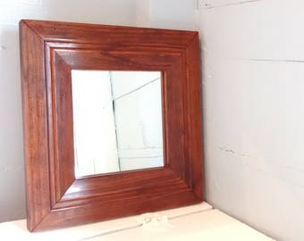 Vintage, Mirror, Square Mirror, Wood Frame, Wall Mirror, Accent Mirror, Entrance Mirror, Rustic, Mid Century, RhymeswithDaughter