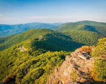 View of the Blue Ridge from Little Stony Man Cliffs, Shenandoah National Park, Virginia.   Photo Print, Stretched Canvas, or Metal Print.