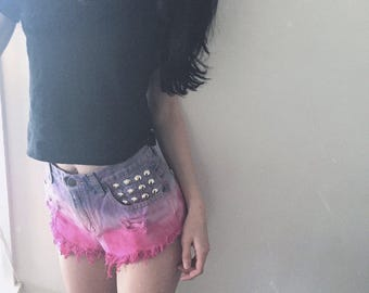 Vintage High Waisted Ombre Dip Dye Pink and Purple Studded Shorts.