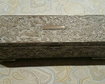 Vintage ornate silver metal jewelry box