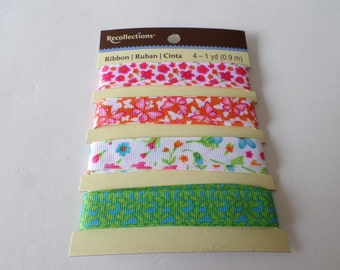 4 Different floral themed ribbons, for crafting , embellishing, ribbon crafts