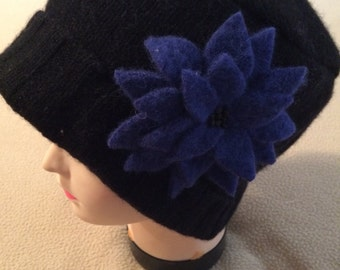 Black felted wool hat with blue beaded flower is one of a kind