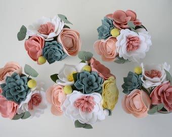 Custom Felt Wedding Flowers // Bridal Bouquet //Bridesmaids Bouquets // Boutonnieres