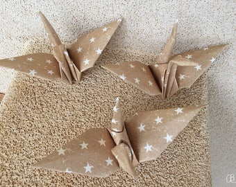 12 Origami cranes brown with white stars - 12 paper cranes - room decor oragami party decor - brown and white origami