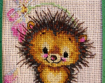 Completed Finished Cross Stitch Hedgehog with Flower for Greeting/Gift Card making