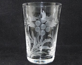 Antique Small Tumbler or Juice Glass, Floral Pattern, Foliage Design, Hand Etched, Handcrafted Glass, Vintage Glass, Clear Glass, Barware