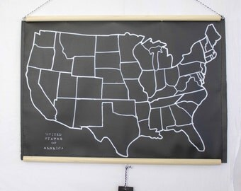 United States Chalkboard Map - Black + White US Map - Geography
