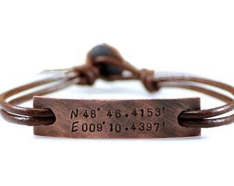 Custom Coordinate Leather Bracelet. Personalized Oxidized Copper Bracelet. Mens Leather Bracelet Engraved. Mens Id Tag Leather Bracelet.