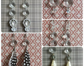 Earrings Handmade Natural Antique Chandelier Crystals YOU PICK!