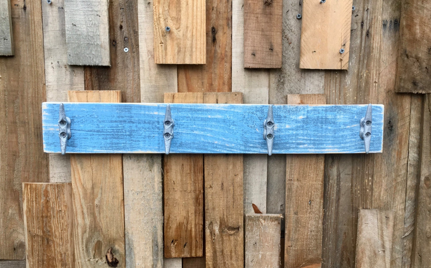 Nautical Boat Cleat Coat Rack, Distressed Blue, Towel Rack, Book Bag Rack,  Hat Rack, Or Key Rack With Boat Cleats And Reclaimed Wood Part 89