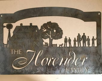 Personalized Metal Sign with  barn and windmill and family scene