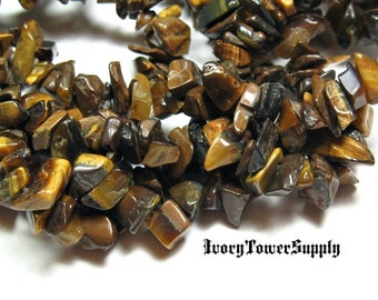 Tigers Eye Chip Beads, Natural Gemstone Beads, Semi Preciouse Beads, Brown Beads
