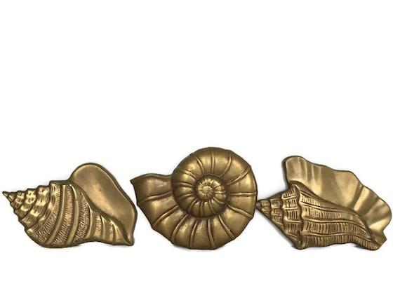 Brass shell plaques set of 3 metal wall hangings nautical beach decor