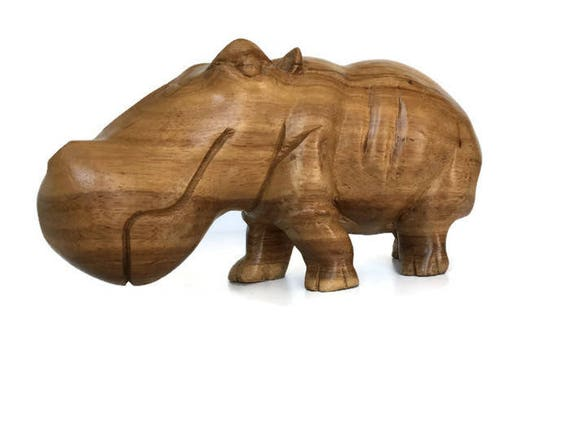 Hand Carved Hippopotamus vintage wooden hippo safari animal wood figurine