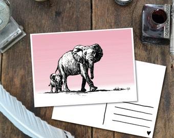 Elephants - Postcard with Illustration, elephant parent child pink