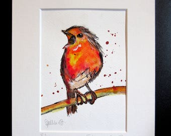 Robin..An original watercolour,pastel and pen painting by Suzanne Patterson