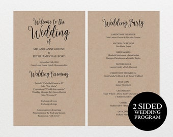 Printable Wedding Program Rustic Editable DIY