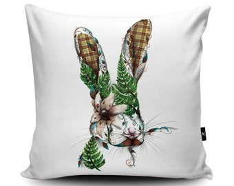 Floral Hare Cushion, Hare Pillow with Tartan, Floral Rabbit Cushion, Ferns and Tartan Cushion Cover, Scottish Hare Illustration Pillow