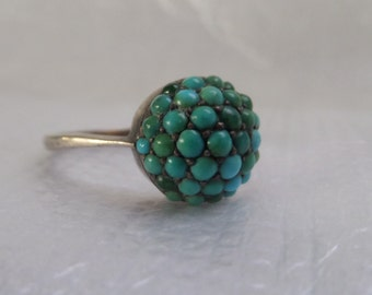 VICTORIAN PAVE TURQUOISE ring - very hard to find