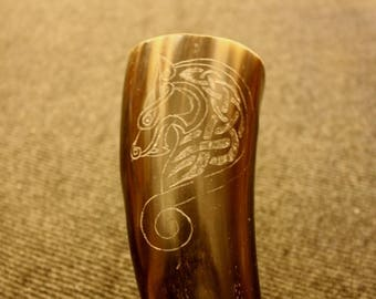 Hand carved Viking drinking horn with Ringerike style lion