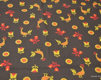 Vintage Roosters and Flowers in Brown, Gold and Red Cotton Fabric