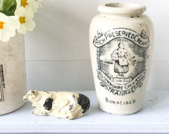 A lovely Wigtownshire Creamery antique Advertising stoneware croc jar