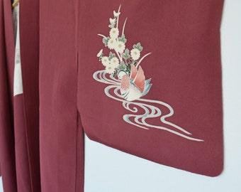 Vintage boho silk kimono robe / haori for wedding day robe - maroon with bird print
