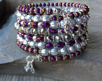 Silver Royal Majesty Multi Strand Memory Wire Coil Bracelet With Matching Charm Dangles