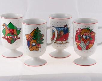 Vintage Christmas Pedestal Mugs, Set of 4 Vintage Christmas Mugs, 1970's Pedestal Christmas Mugs
