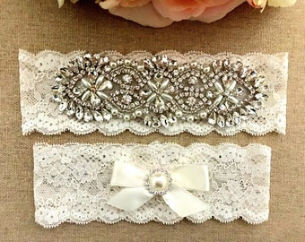 Bridal Garter - Wedding Garter - Rhinestone Garter- Lace Garter- Pearl and Crystal Rhinestone Garter and Toss Garter Set on Ivory Lace