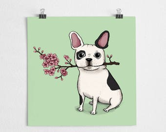 French bulldog illustration, cherry blossom, dog art print // Frenchie Black/white
