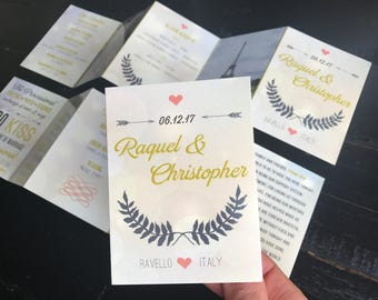 Mini Accordion Fold Wedding Programs; featuring your wedding timeline, wedding party, in loving memory, thank you & engagement photos!