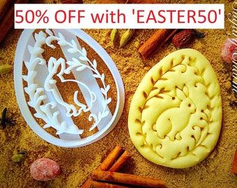 Easter egg with bunny cookie cutter