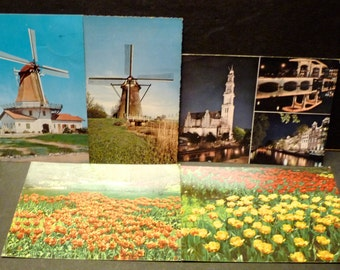 50% OFF - Five Holland/Nederland Vintage Postcards - 2 new- 3 used- two with Nederland stamps