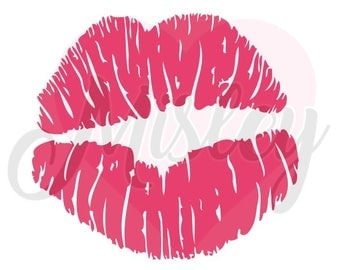 Lipstick Kiss Mark SVG, PNG, and STUDIO3 Cut Files for Silhouette Cameo/Portrait and Cricut Explore DIY Craft Cutters