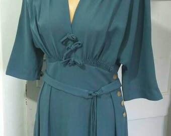 Great 40s style dollman sleeve dress powder blue waist 31.5""