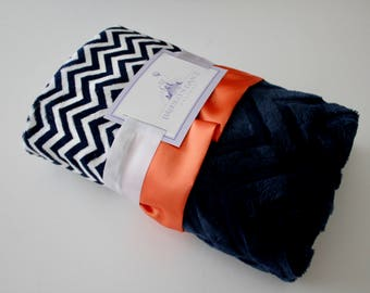 Navy and White Chevron with Solid Navy Embossed Chevron on Reverse, Orange Satin Trim, Minky Blanket, Baby, Crib Bedding, Nautical