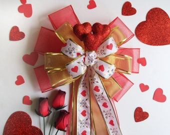 Red Gold Valentines Decor Bow-Valentines Day Decoration-Valentine Wreath Bow-Valentines Day-Heart Bow-Red White Valentines