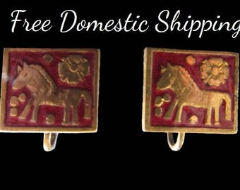 Vintage Horse Earrings, Handmade Earrings, Tudor Rose Jewelry, Scenic Earrings, Red Brass Earrings, Screwback Earrings, Free US Shipping