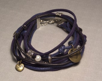 Cotton,Leather and Suede in Blue and Black Wrap Bracelet with Metal Accents