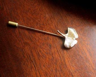Boutonniere, ginkgo leaf, button, gilded