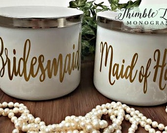 BRIDESMAID GIFT - Candle Decal -  Bridesmaid Gift Idea - Maid of Honor Decal -  Bridesmaid Candle Decal - Personalized Decal - Wedding Decal