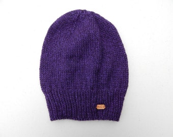 Soft and Slouchy, Purple, Hand Knit Hat
