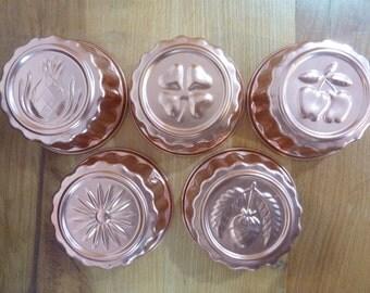 5 Copper Tin Round Tart Jello Baking Cake Molds Pineapple Strawberry Cherries Shamrock Grapes Acorn (#154)