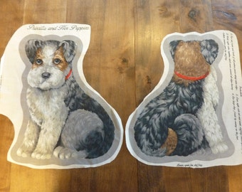 Vintage Dog Fabric Panel Pillow Terrier Joan Kessler Concord Fabrics Sewing Craft Kit (#369)
