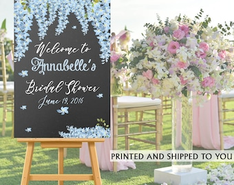 Bridal Shower Welcome Sign - Blue Flowers Welcome Sign- Reception Sign Printed, Wedding Ceremony Sign, Foam Board Personalized Sign