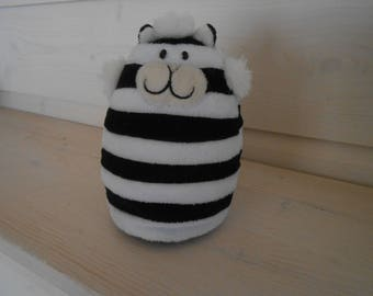cat black and white stripes soft toy shelf sitter collectible kitty Cheshire cat Alice in Wonderland fictional character gift for her